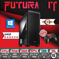 FuturaIT RyzenGamer računalo (Ryzen 3 1200, 8GB DDR4, 240GB SSD, RX 570 8GB, 500W, WiFi, Win10) + Poklon gamepad