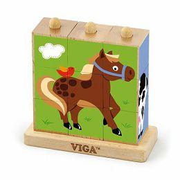 Drvene kocke puzzle s postoljem - domaće životinje (9 kom)