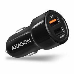 AXAGON PWC-QC5 car charger Smart 5V 2,4A + QC3.0, 30W, crni PWC-QC5