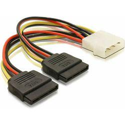Adapter DELOCK, 4-pin Molex (M) na 2x 15-pin SATA (M), naponski, interni 60102