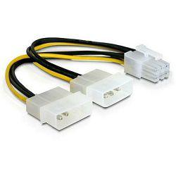 Adapter DELOCK, 2x 4-pin Molex (Ž) na 6-pin (M) za grafičku karticu, naponski, interni 82315