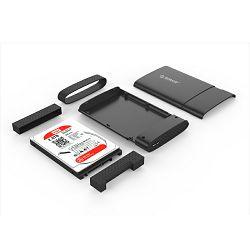 "Eksterno kućište ORICO 2.5"" SATA HDD/SSD, tool free, Aluminium, poseban dizajn za otpornost, USB 3.0, crno"