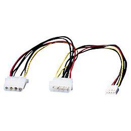 Roline interni Y-naponski kabel, 4-pin F HDD na 4-pin M HDD+4-pin M FDD, 0.3m