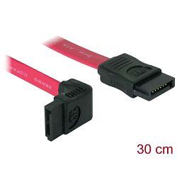 Kabel DELOCK, interni SATA, 30cm, crveni, jedan konektor pod gornjim 90° kutem 84249