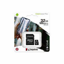Memorijska kartica KINGSTON Canvas Select Plus Micro SDCS2/32GB, SDHC 32GB, Class 10 UHS-I + adapter  SDCS2/32GB