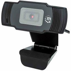 Manhattan Web Camera, 1080p, Full HD, USB, Integrated Microphone, Adjustable Clip Base, 30 fps, Black