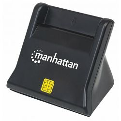 Čitač pametnih kartica i SIM kartica MANHATTAN, uspravni, USB, crni 102025