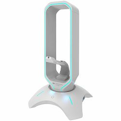 Gaming 3 in 1 Headset stand, Bungee and USB 2.0 hub, 2 USB hub, 1.5m standard USB to USB 5mm PVC cable, Weighted design with non-slip grip, Touch switch to control LED light, Pearl white, size:126*126