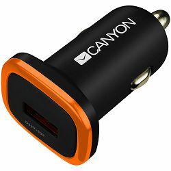 CANYON C-01 Universal 1xUSB car adapter, Input 12V-24V, Output 5V-1A, black rubber coating with orange electroplated ring(without LED backlighting), 51.8*31.2*26.2mm, 0.016kg