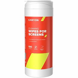 Canyon Screen Cleaning Wipes, Wet cleaning wipes made of non-woven fabric, with antistatic and disinfectant effects, 100 wipes, 80x80x185mm, 0.258kg