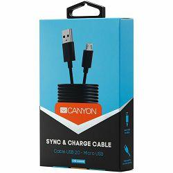 CANYON Micro USB cable, 1M, Black