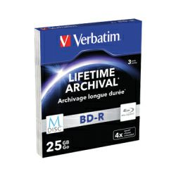 Blu-Ray M-Disc Verbatim BD-R SL 25GB 4× Matt Silver 3 pack SC (Single Layer)