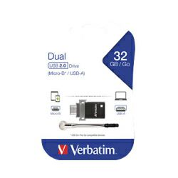 Verbatim USB2.0 & microUSB StorenGo Dual OTG 32GB, crni