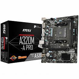 MSI Main Board Desktop A320 (SAM4, 2xDDR4, PCI-Ex16, PCI-Ex1, USB3.2, USB2.0, SATA III, HDMI, DVI-D, GLAN) mATX Retail