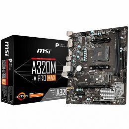 MSI Main Board Desktop A320 (SAM4, 2xDDR4, PCI-Ex16, PCI-Ex1, USB3.2, USB2.0, SATA III, M.2, HDMI, DVI-D, GLAN) mATX Retail