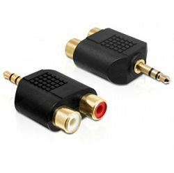Adapter DELOCK, 3.5 mm stereo jack (M) na 2x RCA (Ž) 65365