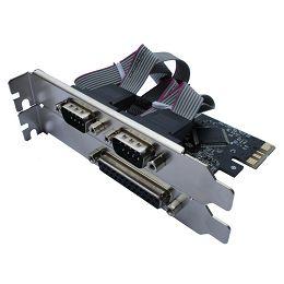 Asonic PCIE 2x ser. (RS232), 1x paralel port, + LP N-PE-1P2S + LP