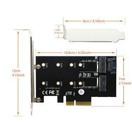 Asonic Dual M.2 Nwme PCIE, LP adapter N-PEM22