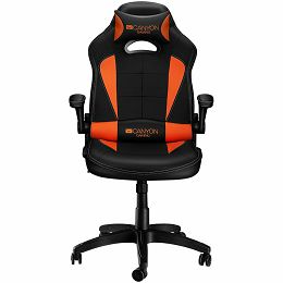 Gaming chair, PU leather, Original and Reprocess foam, Wood Frame, Butterfly mechanism, up and down armrest, Class 4 gas lift, Nylon 5 Stars Base,50mm PU caster, black+Orange.