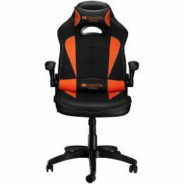 CANYON Vigil G?-2 Gaming chair, PU leather, Original and Reprocess foam, Wood Frame, Top gun mechanism, up and down armrest, Class 4 gas lift, Nylon 5 Stars Base,50mm PU caster, black+Orange.