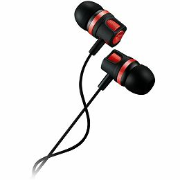 CANYON Stereo earphones with microphone, 1.2M, red