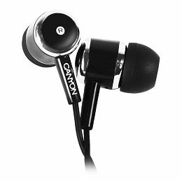 CANYON Stereo earphones with microphone, Black