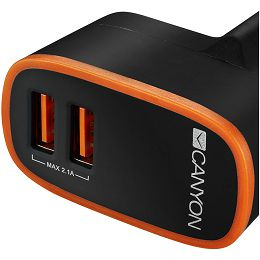 CANYON Universal 2xUSB AC charger (in wall) with over-voltage protection, Input 100V-240V, Output 5V-2.1A , with Smart IC, black rubber coating with orange stripe