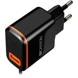 CANYON Universal 1xUSB AC charger (in wall) with over-voltage protection, plus Type C USB connector, Input 100V-240V, Output 5V-2.1A, with Smart IC, black (orange stripe)?, cable length 1m, 81*47.2*27