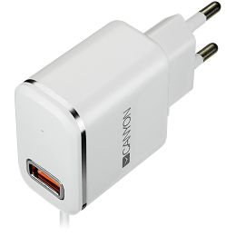 CANYON H-043 Universal 1xUSB AC charger (in wall) with over-voltage protection, plus lightning USB connector, Input 100V-240V, Output 5V-2.1A, with Smart IC, white(silver electroplated stripe), cable