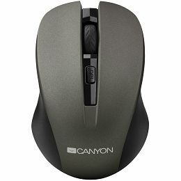 CANYON Mouse CNE-CMSW1(Wireless, Optical 800/1000/1200 dpi, 4 btn, USB, power saving button), Graphite