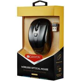 CANYON CNR-MSOW06B Black color, 6 buttons and 1 scroll wheel with 800/1200/1600 switchable dpi plus 2 additional up/down direction buttons 2.4GHZ wireless optical mouse