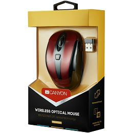 CANYON CNR-MSOW06R Red color, 6 buttons and 1 scroll wheel with 800/1200/1600 switchable dpi plus 2 additional up/down direction buttons 2.4GHZ wireless optical mouse