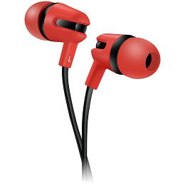 CANYON Stereo earphone with microphone, 1.2m flat cable, Red, 22*12*12mm, 0.013kg