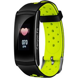 Smart watch, 0.96inches LCD, IP68 waterproof, multi-sport mode, compatibility with iOS and android, weather display, Black-Green, Host: 48x22x12mm, Strap: 250x22mm, 25g