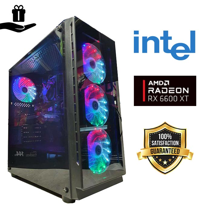FuturaIT Gamer Famoso PC (Intel i5 10400F, H470, 16GB DDR4, SSD+3TB HDD, AMD RX 6600XT, 650W, Midi Rainbow Case)