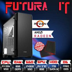 FuturaIT gaming računalo (Ryzen 3 1200, 8GB DDR4, 240GB SSD, 1TB HDD, RX 570 8GB) + gaming podloga