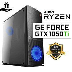 FuturaIT GTX Gamer PC (AMD Ryzen 5 1600AF, 16GB RAM, SSD 480GB, GTX 1050Ti, 600W 80+, Midi Case) Poklon