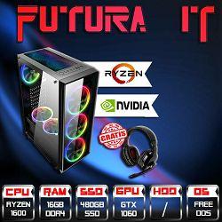 FuturaIT R5 GTXGamer (Ryzen 5 1600 3.6GHz 6core, 16GB DDR4 3000MHz, 480GB SSD, GTX1060, 500W) + Poklon slušalice