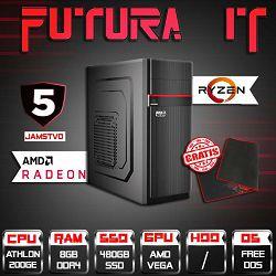 FuturaIT računalo Budget gamer (AMD 200GE 3.2GHz, 8GB DDR4, Radeon Vega, 480GB SSD, 500W, 5Y) + gaming podloga