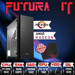 FuturaIT računalo GamerX (Ryzen 5 1600, 16GB DDR4, 960GB SSD, RX 570 4GB, 500W, noOS) + gaming podloga