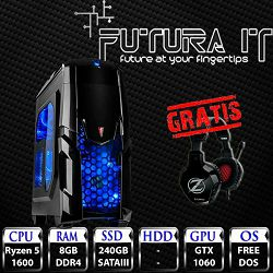 FuturaIT računalo (Ryzen 5 1600, 8GB DDR4, 240GB SSD, GTX 1060, 500W, noOS) + gaming slušalice