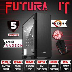 FuturaIT računalo Ryzen5Gamer (Ryzen 5 3600, 16GB DDR4, 240GB SSD, 1TB HDD, RX 580 8GB, 5Y) + Gaming miš
