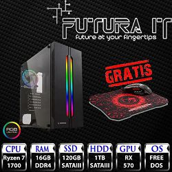 FuturaIT računalo Ryzen7Gamer (Ryzen 7 1700, 16GB DDR4, 120GB SSD, 1TB HDD, RX 570 4GB, noOS, 5 godina) + Gaming miš i podloga