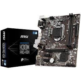 MSI Main Board Desktop H310 (S1151, DDR4, USB3.1, USB2.0, SATA III, HDMI, DVI-D, VGA - Requires Processor Graphics, 8-Channel(7.1) HD Audio with Audio Boost, Realtek 8111H Gigabit LAN) mATX Retail