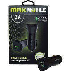 MAXMOBILE AUTO ADAPTER USB CC-S005 QC 3.0,18W QUICK CHARGE 3A crni