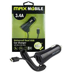 MAXMOBILE AUTO ADAPTER USB DUO CC-D016 3.4A + MICRO USB bijeli