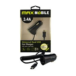 MAXMOBILE AUTO ADAPTER USB DUO CC-D016 3.4A + TYPE C crni