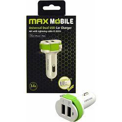 MAXMOBILE AUTO ADAPTER USB DUO CC-D026 3.4A + MFI Apple bijelo-zeleni