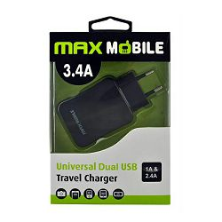 MAXMOBILE KUĆNI ADAPTER DUO USB TR-019 3.4A crni