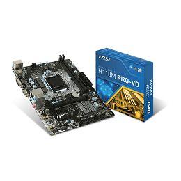 MSI H110M Pro-VD, LGA1151, D4,S3,U3, HD, Gb Lan